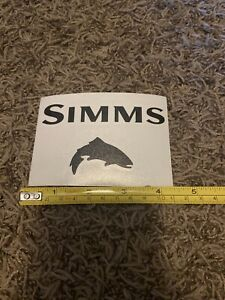 Simms Black Trout With Words Fly Fishing Sticker Decal 5""
