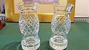 STUNNING PAIR WATERFORD CRYSTAL GLASS HURRICANE CANDLE LAMPS