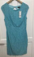 WAREHOUSE SIZE 10 AQUA MARINE LACE DETAIL BODYCON DRESS Size 14