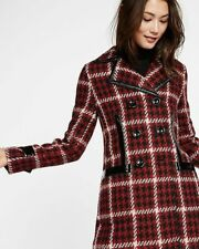 NEW EXPRESS $198 PATENT LEATHER TRIM HOUNDSTOOTH PEACOAT COAT SZ S SMALL