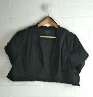 CITY CHIC Black Satin Shiny Ruffled Short Sleeved Cropped Bolero Size M Size 18