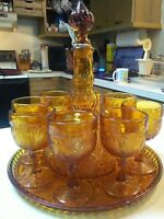 Vintage Indiana Amber Sandwich Glass 11-pc Set, Decanter and 8 goblets on Tray