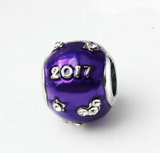1Pcs White Crystal Purple Round Charm Silver bead For Bracelet/Necklace Chain