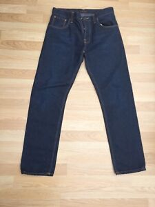 Nudie Dark Blue Organic Denim Ladies Straight Leg Jeans 33/32