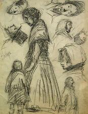 Unbekannt unleserlich signiert / Zeichnung sozialkrit. Personenstudien / um 1890