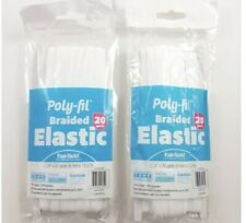 """NEW Lot of 2 Fairfield Poly-fil Braided Elastic 0.24"""" 20 Yards"""