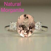 Natural Morganite Pink Gemstone Ring 925 Sterling Silver Women Wedding Jewellery