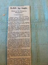 b2-5 ephemera ww1 1916 article ex m p spy caught tribitsch lincoln new york