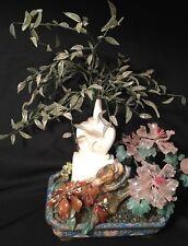 Large Chinese Agate Quartz Etc Hard stone Jade Tree Cloisonné Planter