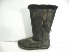 BEARPAW SIDNEY BOOTS LEATHER WOMEN SHOES BLACK/GOLD 856W SIZE 10 NEW