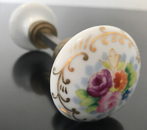 Antique Porcelain Hand Painted Floral Flower Door Knob Set
