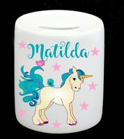 Personalised Name Unicorn Money Box  Piggy Bank Girl Birthday Christmas Present