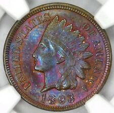 💜🍇🍓🧬NGC MS65 💜BN 1893 INDIAN HEAD CENT