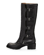 $600 MARC BY MARC JACOBS  Quilted Multi-Strap Knee Boot COMBAT BLACK 38 8 (M8)
