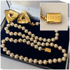 Vintage Jewellery Signed MONET Pearl Necklace & Clip Earrings