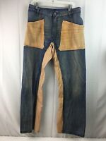 Mens Diesel Jeans Medium Wash Brown Blue Distressed Patched Two Tone 33 34