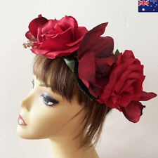 Large Red Rose Flower Floral Wedding Bridal Party Headband Hair Crown Garland