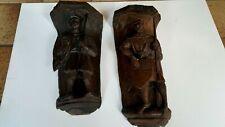 15th Century pair of English medieval oak corbels bracket of knights