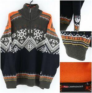F. LLI CAMPAGNOLO Vintage Mens Norwegian Nordic Henley Jumper Pullover SIZE L