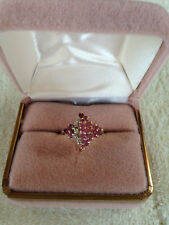 Pink Red Ruby Diamond Cocktail Ring 10K Yellow Gold