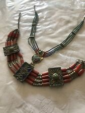 Purivian ? Mexican ? Indian Silver Coral Turquoise Jewellery Necklace X2