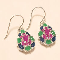 Natural Emerald Ruby Sapphire Earrings 925 Sterling Silver Artisan Fine Jewelry