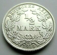 (347)RARE GERMANY EMPIRE 1/2 MARK SILVER COIN 1914 A -  0.900 SILVER