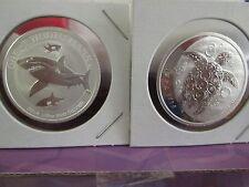 1/2 oz .999 fine  Silver  Great White Shark / TAKU TURTLE Coin bullion (2)