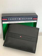 TOMMY HILFIGER BLACK RFID PROTECTION BILLFOLD LEATHER PASSCASE & VALET WALLET