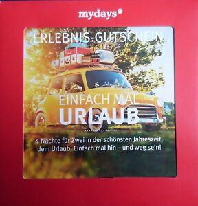 """mydays   Erlebnis Gutschein """"Einfach mal Urlaub"""" """"4 Nächte für Zwei"""""""