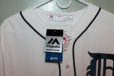 Detroit Tigers Majestic MLB Blank Back  Mens Game Jersey White       $110   NEW