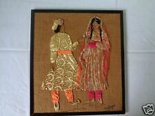 VINTAGE INDIAN COUPLE WEDDING SEWN FABRIC BEAD TEXTILE ART ON JUTE CANVAS BURLAP