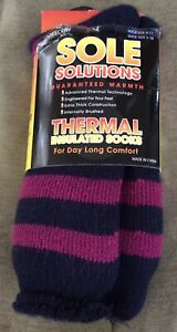 Sole Solutions THERMAL Insulated Women's Crew Socks Size 9-11 Navy Pink Stripe