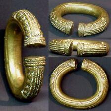 L2 Art d'afrique 1940 superbe bracelet bronze doré 635g11cm bijou ancien rare