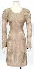 Calvin Klein Khaki Dark Beige Size PM Acrylic Pleated Cable Knit Women's Dress*