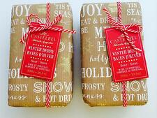 2 Castelbel Scented Bar Soap Wrapped Gift Paper Winter Berry Holiday