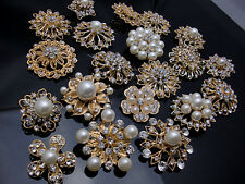 5-100 Gold Pearl Crystal Brooch Button DIY Bridal Wedding Bouquet Wholesale Lot