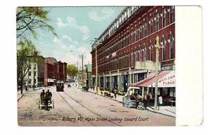 ME - AUBURN MAINE Postcard MAIN STREET WHITE FAWN FLOUR STREETCAR