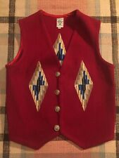 Vintage Ortega's Chimayo New Mexico Concho Hand Woven Wool Vest Size 42!
