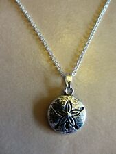 """18""""  925 Sterling Silver Chain Sand Dollar Replica Religious Pendant Necklace"""