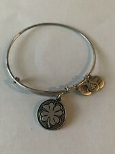 Alex & Ani 4 leaf Clover Silver expandable Bangle bracelet