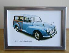 Morris Minor Traveller 1960 (Mid Blue) -  4x6in Framed Photograph - Gift for Fan