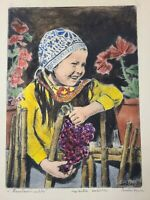 OG Bela Sziklay Pencil Signed 1911-1981 Hand colored Etching, A Child with grape