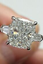 Radiant Moissanite Ring 3.27Ct Near White Engagement Wedding 925 Sterling Silver