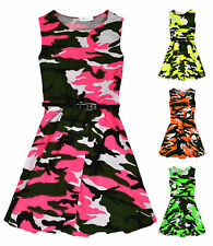 Girls Neon Camouflage Skater Dress New Kids Sleeveless Camo Dresses 7-13 Years