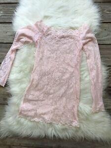Victoria Secret Pink Lace Mini Dress Sheer Long Sleeve Stretch Sz S