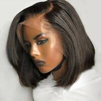 Black Short Bob Lace Front Wigs 8A Malaysian Remy Human Hair Wig Pre Plucked @W1