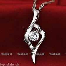 Silver Necklace Round Diamond Pendant Xmas Gifts her Women Mum Wife GF Girls C3