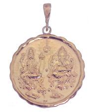 Hindu GANESH & LAKSHMI OM Rose Gold Plated Solid Sterling Silver Charm Pendant