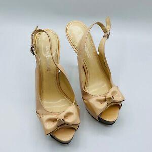 Enzo Angiolini Sweetness Womens Shoes Size 6.5 M Nude Slingback Heels Leather